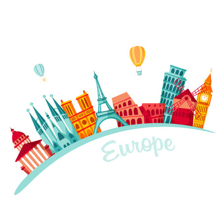 excursion: Europe travel background. Travel set. European famous buildings. Europe trip. Cityscape. Architecture of Europe: Paris, London, Barcelona, Rome. Tourist excursion
