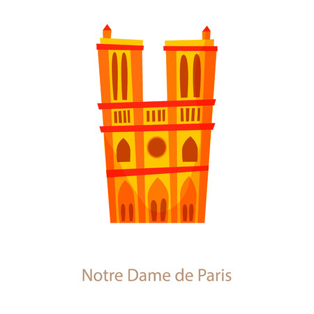 notre dame de paris: Notre Dame de Paris. Paris landmark. Travel flat illustration. France famous cathedral building. Icon of Notre Dame Illustration