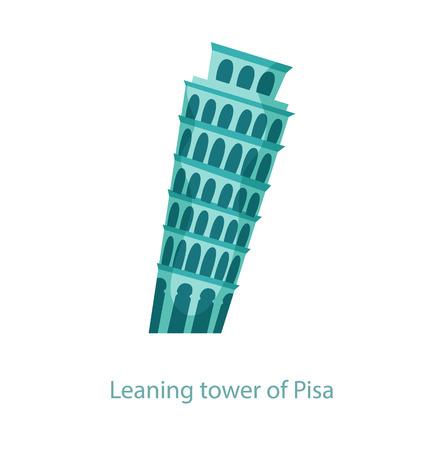 Leaning tower of Pisa. The famous Italian leaning tower. Italy landmark. Travel flat illustration. Italy famous building. Icon of Leaning tower of Pisa Vettoriali