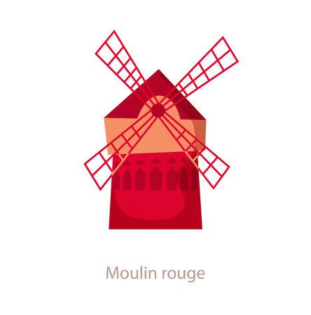 moulin: Moulin rouge. Paris landmark. Travel flat illustration. France famous cabaret building. Icon of Moulin rouge. Mill