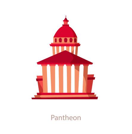 pantheon: Pantheon. Paris landmark. Travel flat illustration. France famous building. Icon of Pantheon. Architectural monument Illustration