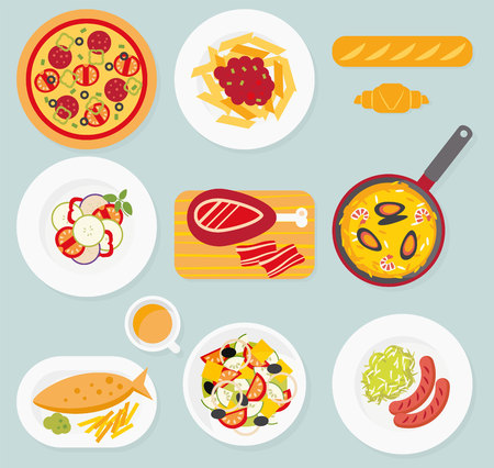 spanish: European cuisine. European food set. Italian, French, German, English, Spanish food. Pizza, pasta, baguette, croissant, ratatouille, greek salad, sausage, sauerkraut, fish and chips, paella, jamon