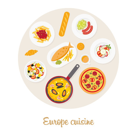 european cuisine: European cuisine. European food set: Italian, French, German, English, Spanish. European food: pizza, pasta, baguette, croissant, ratatouille, greek salad, sausage, sauerkraut, fish and chips, paella