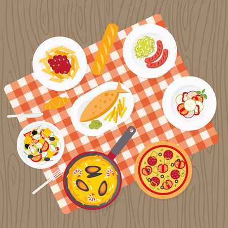 Catering service. Europese gerechten. Picknick deken op tafel. Flat catering maaltijd te stellen. Verschillende gerechten op tafel laken. Europa cuisine bovenaanzicht achtergrond. Catering buffet. Pizza, pasta, worstjes, vis