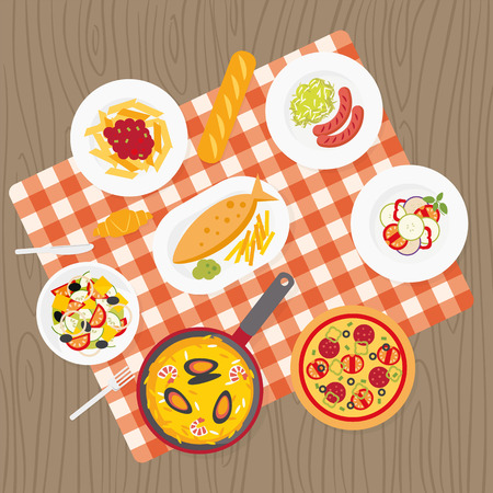Catering service. European food. Picnic blanket on table. Flat catering meal set. Different dishes on tablecloth. Europe cuisine top view background. Catering buffet. Pizza, pasta, sausages, fish Vettoriali