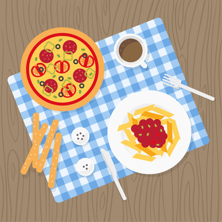 picnic blanket: Italian cuisine. European food. Italian meal set. Catering service. Picnic blanket on table. Different dishes on tablecloth. Italian food top view background. Catering buffet. Pizza, pasta, grissini