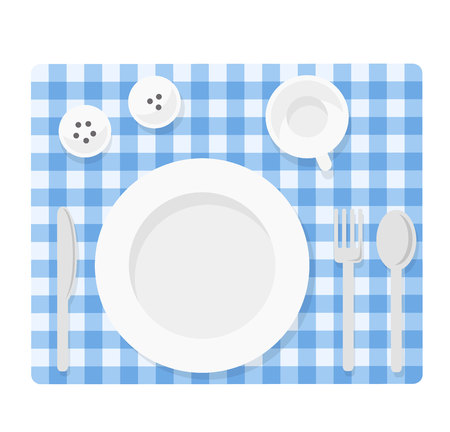 empty plate: Tableware. Empty plate with knife, spoon, fork, cup, salt and pepper. Empty dishes top view illustration. Flat tableware on tablecloth. Picnik table  setting ready for dinner.