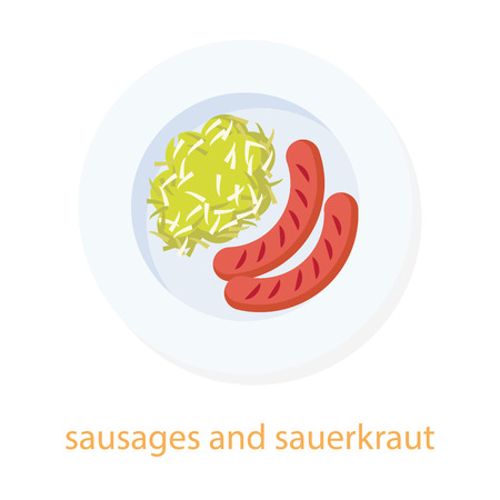 food dish: Sausages and sauerkraut. German cuisine. European food. Plate with sausages and sauerkraut. Top view illustration. Isolated on white background. Traditional dish.