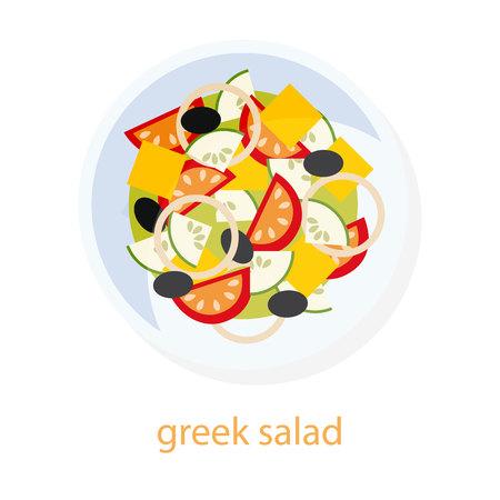 Griekse salade. Griekse keuken. Europese gerechten. Plaat met Griekse salade. Salade bovenaanzicht afbeelding. Geïsoleerd op een witte achtergrond. Mediterrane traditioneel gerecht. Vegetarisch. Vegan Vector Illustratie