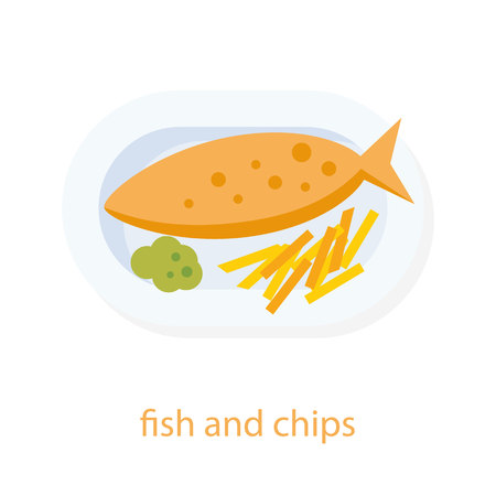 british cuisine: Fish and chips. English cuisine. European food. Plate with fried fish, potato chips pea mash. Fast food. Fish and chips top view illustration. Isolated on white background. Traditional british dish.