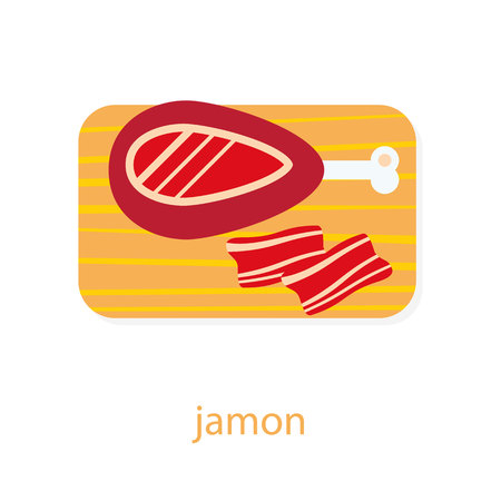 spanish food: Jamon on cutting board with slices. Spanish cuisine. European food. Jamon top view illustration.  Ham isolated on white background. Traditional spanish dish. Pork jamon Illustration