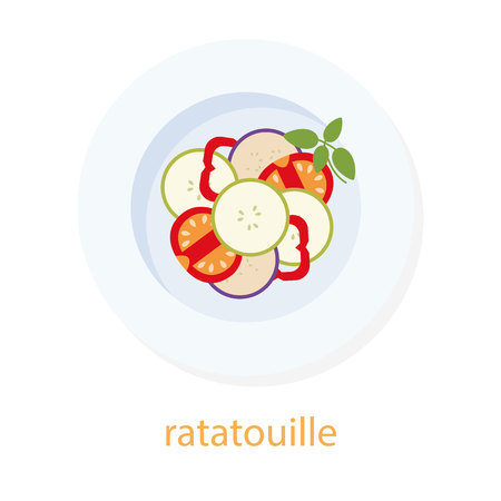 european food: Ratatouille and basil. French cuisine. European food. Plate with ratatouille. Ratatouille top view illustration. Isolated on white background. Traditional french dish. Vegetarian. Vegan