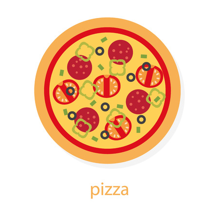 pepperoni: Pizza with pepperoni. Italian cuisine. European food. Pizza top view illustration. Isolated on white background. Traditional italian dish. Pizza with salami, tomatoes, peppers, cheese, olives