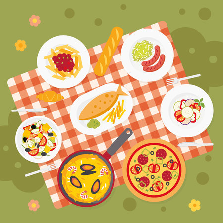 Picnic food. Catering service. European food. Picnic blanket in the meadow.  Flat outdoor meal set. Tablecloth for a picnic with different dishes. Europe cuisine top view background