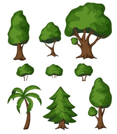 Bush Park y el árbol. Bush Park y la ilustración del árbol. Bush Park y el conjunto de árbol. parque arbusto de dibujos animados y el árbol. elementos de diseño de paisajismo. Jardín arbustos y árboles aislados en blanco. Parque de verano arbusto