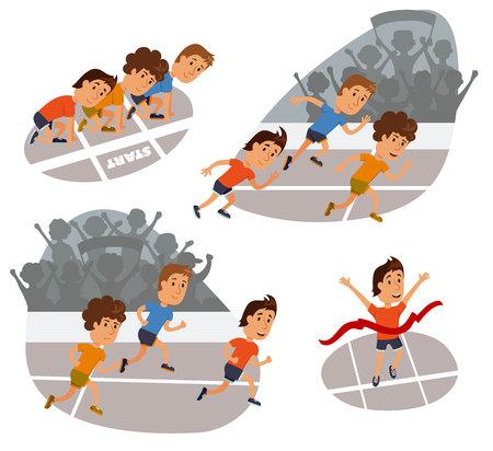 Run race. Running competition. Sports stadium iillustration. Runners cartoon character. Sprint marathon. Starting line, run race and finish set.  Group run race.Fans at the stadium. Vettoriali