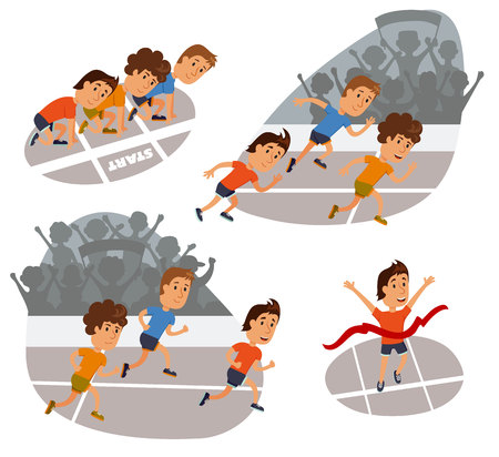 race winner: Run race. Running competition. Sports stadium iillustration. Runners cartoon character. Sprint marathon. Starting line, run race and finish set.  Group run race.Fans at the stadium. Illustration
