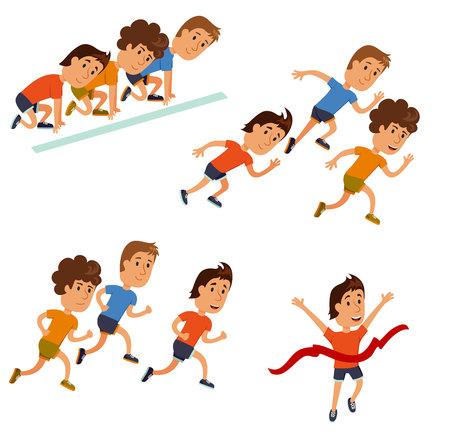 Run race. Running competition. Runners cartoon character. Sprint marathon. Starting line, run race and finish set. Group run race. Vettoriali