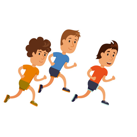 sprint: A group of men running.  Running competition. Groop of man run together. Jogging cartoon character. Sprint marathon. Sport and activity people.