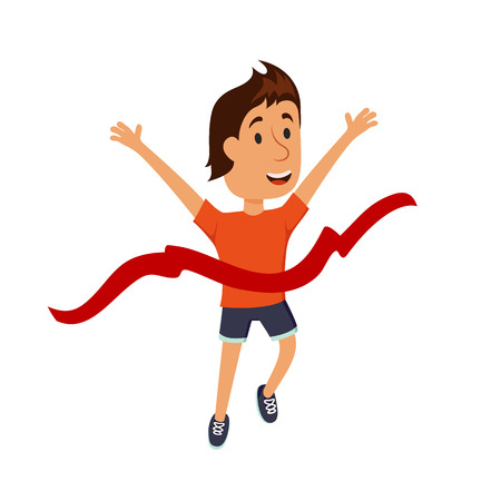 finishing: Finish line. Runner finishing. The characters at the finish line of the marathon. Success, winning and achievements of goals concept. Athletes at the finishing position. Finish line illuctration. Illustration