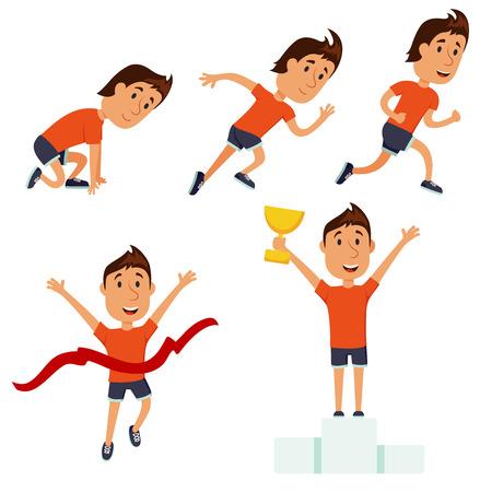 race winner: Run man. Running competition. Run training iillustration. Jogging cartoon character. Sprint marathon. Starting line, run race, finish and award set. Runner winning the race. Sport and activity.