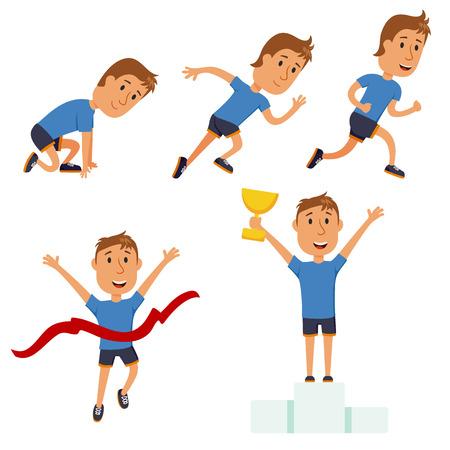 starting line: Run man. Running competition. Run training iillustration. Jogging cartoon character. Sprint marathon. Starting line, run race, finish and award set. Runner winning the race. Sport and activity.