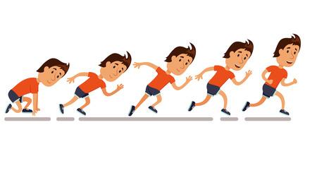 funcionamiento de los hombres. Ejecución de secuencia de pasos. Paso a paso ejecutar guión gráfico de la carrera. Ejecutar la animación hombre. Ejecución de la competencia. Ejecutar Iillustration formación. El activar personaje de dibujos animados. maratón sprint. Ilustración de vector