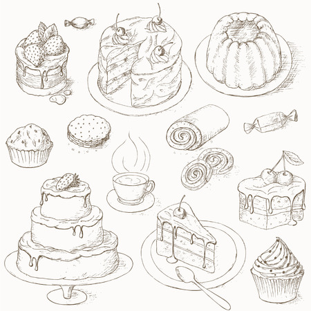 trozo de pastel: Conjunto de Torta. Pasteles, dulces y otros sweets.illustration de la torta. Pedazo de la torta. postres de panadería. Tortas con crema y bayas. diseño de la torta de celebración.