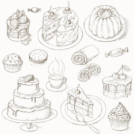 set torta. Dolci, caramelle e altri sweets.illustration di torta. Pezzo di torta. dolci da forno. Torte con crema e frutti di bosco. cake design Celebration.
