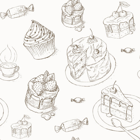 porcion de torta: Cake seamless pattern. Cakes, candy and other sweets. illustration of cake. Piece of cake. Bakery desserts wallpaper. Cakes with cream and berries. Celebration cake design.