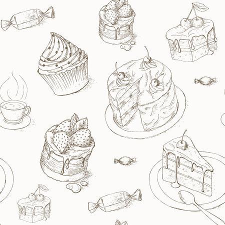 trozo de pastel: Modelo inconsútil de la torta. Pasteles, caramelos y otros dulces. Ilustración de la torta. Pedazo de la torta. postres de panadería papel pintado. Tortas con crema y bayas. diseño de la torta de celebración.