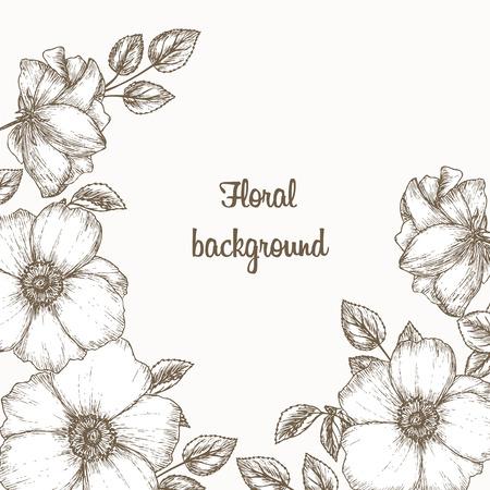 Bloemen uitnodigingsframe. bloemenuitnodiging. Bloem uitnodigingskaart. Uitstekende bloemenuitnodiging. Schets van hond roos. Bruiloft uitnodiging sjabloon. Cover met bloemen.