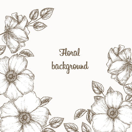 Floral invitation frame.  floral invitation. Flower invitation card. Vintage floral invitation. Sketch of dog rose. Wedding invitation template. Cover with flowers.