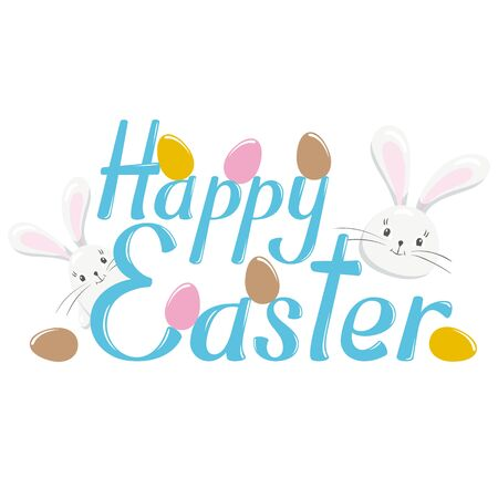 easter message: Happy Easter lettering. Happy Easter lettering isolated on white background. Text illustration - Happy Easter. Happy Easter words and bunny. Holiday greeting poster with calligraphy Illustration