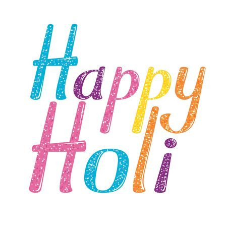 holi: Happy Holi lettering. Happy Holi lettering isolated on white background. Text illustration - Happy Holi. Happy  Holy words. Indian festival of colors. Happy Holy  calligraphy poster. Illustration