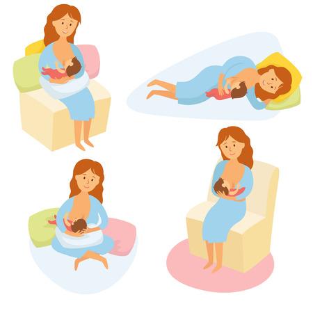 Posizione di allattamento al seno. Madre nutre il bambino con petto. Confortevole posa per l'alimentazione del bambino. La mamma di latte allattamento infantile. La maternità e l'infanzia. La donna allattare il bambino in pose diverse. vettore del fumetto Archivio Fotografico - 54930832