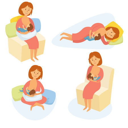 Breastfeeding position. Mother feeds baby with breast. Comfortable pose for feeding child. Mom lactation infant milk. Motherhood and childhood. Woman breastfeed baby in different poses. Cartoon vector 일러스트