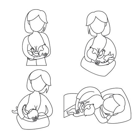 Breastfeeding position. Mother feeds baby with breast. Comfortable pose for feeding child. Mom lactation infant milk. Motherhood and childhood. Woman breastfeed baby in different poses. Line art.