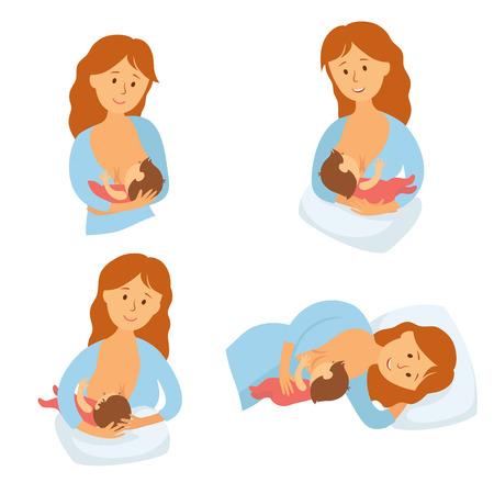 lactancia materna: posición de la lactancia materna. Madre alimenta al bebé con la mama. Cómoda pose para la alimentación infantil. Madre de la leche de lactancia infantil. La maternidad y la infancia. Mujer amamanta al bebé en diferentes poses. vector de la historieta