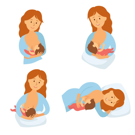 Breastfeeding position. Mother feeds baby with breast. Comfortable pose for feeding child. Mom lactation infant milk. Motherhood and childhood. Woman breastfeed baby in different poses. Cartoon vector Vettoriali