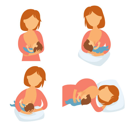 breastfeeding: Breastfeeding position. Mother feeds baby with breast. Comfortable pose for feeding child. Mom lactation infant milk. Motherhood and childhood. Woman breastfeed baby in different poses.