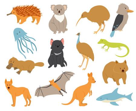 動物: オーストラリアの動物を設定します。漫画のキャラクター。オーストラリアの固有種の動物。動物園イラスト。大陸の動物。野生動物。かわいい動物園コレクショ