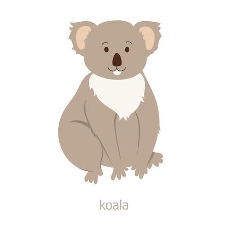koala: Oso koala. Personaje animado. Australia endémica. Ilustración zoológico. La fauna del continente australiano. Animal salvaje. koala linda. Símbolo del país. oso trasero plana