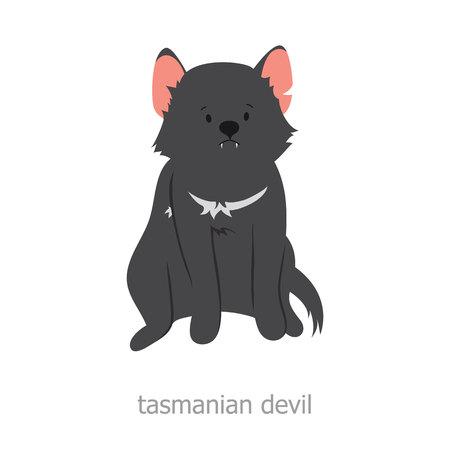 vicious: Tasmanian devil. Cartoon character. Australian endemic. Zoo illustration. The fauna of the Australian continent. Wild animal. Cute tasmanian devil. Symbol of country.