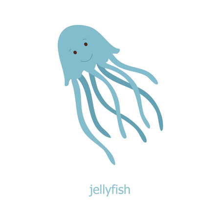 Jellyfish. Cartoon character. The sea jelly of the Australia. Wild animal. Cute jelly fish.  Marine life.