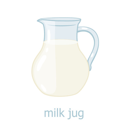 milk production: Milk jar cartoon illustration. Kitchen utensil. Glass jar with milk. Dairy production. Food ingrediensts Illustration