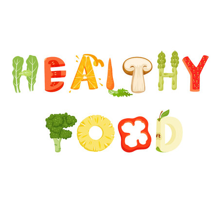 Healthy food lettering. Healfy food vector letter. Healfy food lettering with vegatables isolated on white background. Text vector illustration. Healthy food vegetables word. Vegeterian food. Çizim