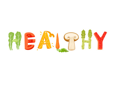 vegatables: Healthy food lettering. Healfy food vector letter. Healfy food lettering with vegatables isolated on white background. Text vector illustration. Healthy food vegetables word. Vegeterian food. Illustration