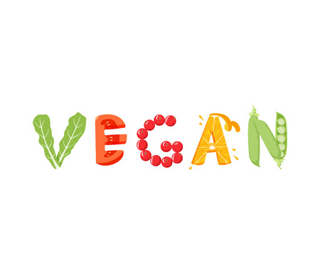 vegatables: Vegan vegetables lettering. Healfy food vector letter. Vegan lettering with vegatables isolated on white background. Text vector illustration. Vegan food vegetables word. Vegeterian food. Illustration