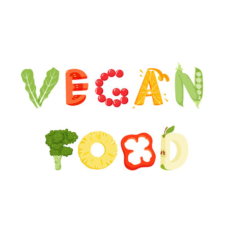 vegatables: Vegan food vegetables lettering. Healfy food vector letter. Vegan food lettering with vegatables isolated on white background. Text vector illustration. Vegan food vegetables word. Vegeterian food.